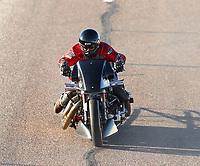 Feb 24, 2018; Chandler, AZ, USA; NHRA nitro harley rider Randal Andras during qualifying for the Arizona Nationals at Wild Horse Pass Motorsports Park. Mandatory Credit: Mark J. Rebilas-USA TODAY Sports