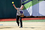 21 MAY 2016:  Harlie Barkley (2) of the University of North Alabama throws out a runner against Humboldt State University during the Division II Women's Softball Championship held at the Regency Athletic Complex on the Metro State University campus in Denver, CO.  North Alabama defeated Humboldt State 4-1 to win the national title.  Jamie Schwaberow/NCAA Photos
