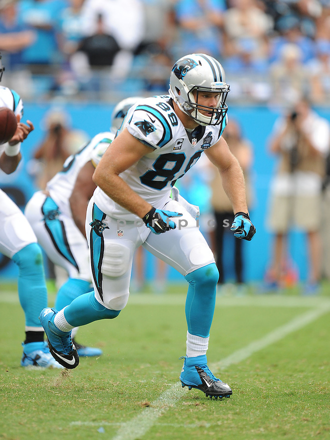 Carolina Panthers Greg Olsen (88) during a game against the Detroit Lions on September 14, 2014 at Bank of America Stadium in Charlotte, NC. The Panthers beat the Lions 24 - 7.