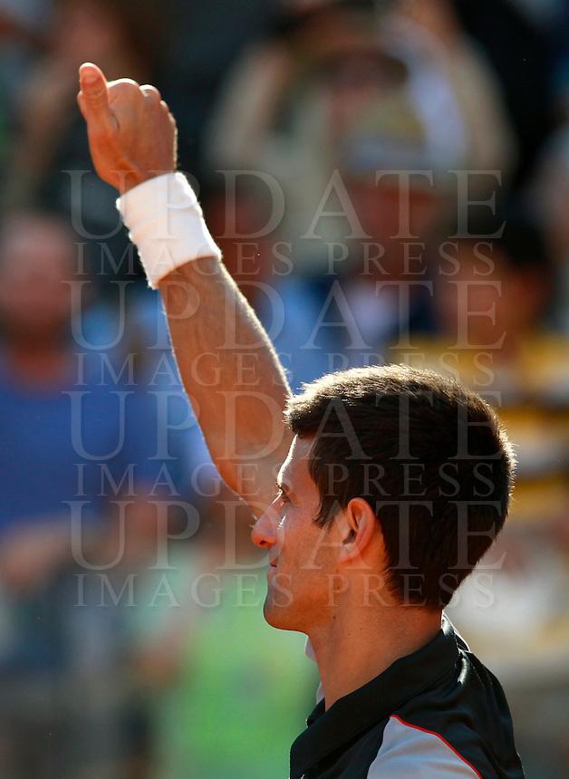 Il serbo Novak Djokovic agli Internazionali d'Italia di tennis a Roma, 17 maggio 2014.<br /> Serbia's Novak Djokovic during the Italian open tennis tournament, in Rome, 17 May 2014.<br /> UPDATE IMAGES PRESS/Isabella Bonotto
