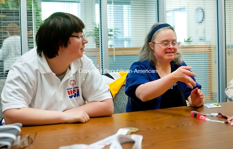TORRINGTON,  CT-051017JS11- Special Olympians Rebecca Lamoin, left, and Natasha Cole, talk about their experiences competing in the Special Olympics World Wintergames 2017 in Austria Wednesday at LARC in Torrington. Jim Shannon Republican-American