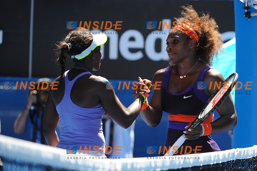 Serena Williams (USA).Sloane Stephens (USA) .Melbourne 23/1/2013.Tennis Australian Open.Foto Virginie Bouyer / Sportmag / Panoramic / Insidefoto.ITALY ONLY