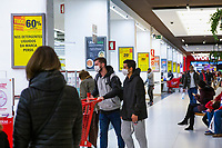LISBON, PORTUGAL - March 7 : Two people are seen  wearing a protective masks in a mall on March 7, 2020 in Lisbon, Portugal. <br /> Portugal has already confirmed six positive cases of coronavirus. The sixth case is that of a woman (the first), from the district of Lisbon, who was in Italy. The Grão Vasco boarding school in Benfica, Lisbon, closed on Thursday afternoon after the mother of a student was hospitalized with coronavirus. <br /> (Photo by Luis Boza/VIEWpress)