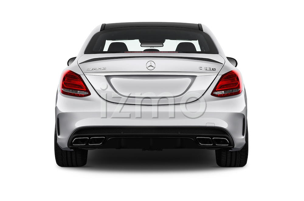 Straight rear view of 2016 Mercedes Benz C-Class AMG-C63-S 4 Door Sedan Rear View  stock images