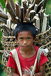 A boy carries a load of firewood near Tandawan in Mindanao, Philippines.