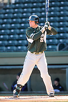 First baseman Ryan Krill (22) of the Michigan State Spartans hits in a game against the Northwestern Wildcats on Sunday, February 17, 2013, at Fluor Field at the West End in Greenville, South Carolina. Michigan State won, 7-4. (Tom Priddy/Four Seam Images)