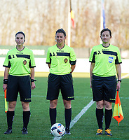 20191204 - TUBEKE , BELGIUM : Assistant referee Jana van Laere (left), match referee Chloe Mingroet (middle) , assistant refereeJoline Delcraux (right) at the start of the international friendly female soccer game between the Belgian Flames U15 and Germany , Wednesday 4 th December 2019 at the Belgian Football Centre, Tubeke / Tubize , Belgium. PHOTO SPORTPIX.BE | SEVIL OKTEM
