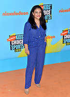 SANTA MONICA, USA. July 11, 2019: Laurie Hernandez at Nickelodeon's Kids' Choice Sports Awards 2019 at Barker Hangar.<br /> Picture: Paul Smith/Featureflash