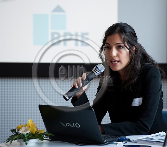 """Brussels-Belgium - November 10, 2011 -- """"European Buildings under the Microscope - A country by country review of the energy performance of European buildings"""", a conference held by BPIE (Buildings Performance Institute Europe) at AEROPOLIS II; here, Marina ECONOMIDOU, BPIE -- Photo: Horst Wagner / eup-images"""