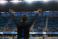 SAN JOSE, CA - JULY 16: San Jose Earthquakes newest signing Carlos Fierro #21 is introduced at halftime during a friendly match between the San Jose Earthquakes and Real Valladolid on July 16, 2019 at Avaya Stadium in San Jose, California.