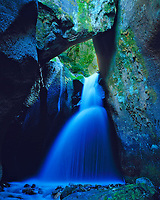 Waterfall in a Slot Canyon, La Sal Mountains, Manti-La Sal National Forest, Utah