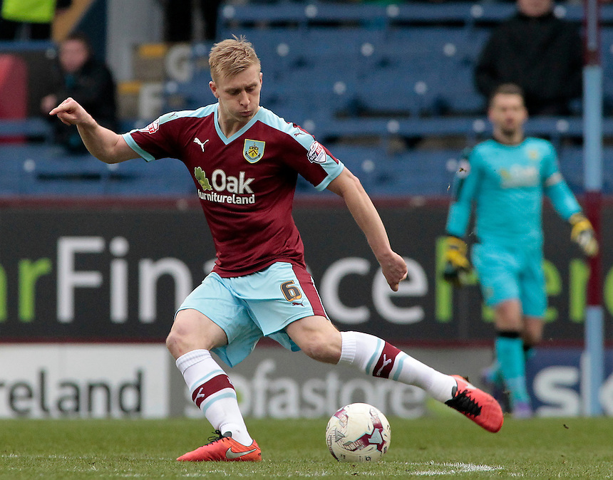 Burnley's Ben Mee in action during todays match  <br /> <br /> Photographer David Shipman/CameraSport<br /> <br /> Football - The Football League Sky Bet Championship - Burnley v Wolverhampton Wanderers - Saturday 19th March 2016 - Turf Moor - Burnley<br /> <br /> &copy; CameraSport - 43 Linden Ave. Countesthorpe. Leicester. England. LE8 5PG - Tel: +44 (0) 116 277 4147 - admin@camerasport.com - www.camerasport.com