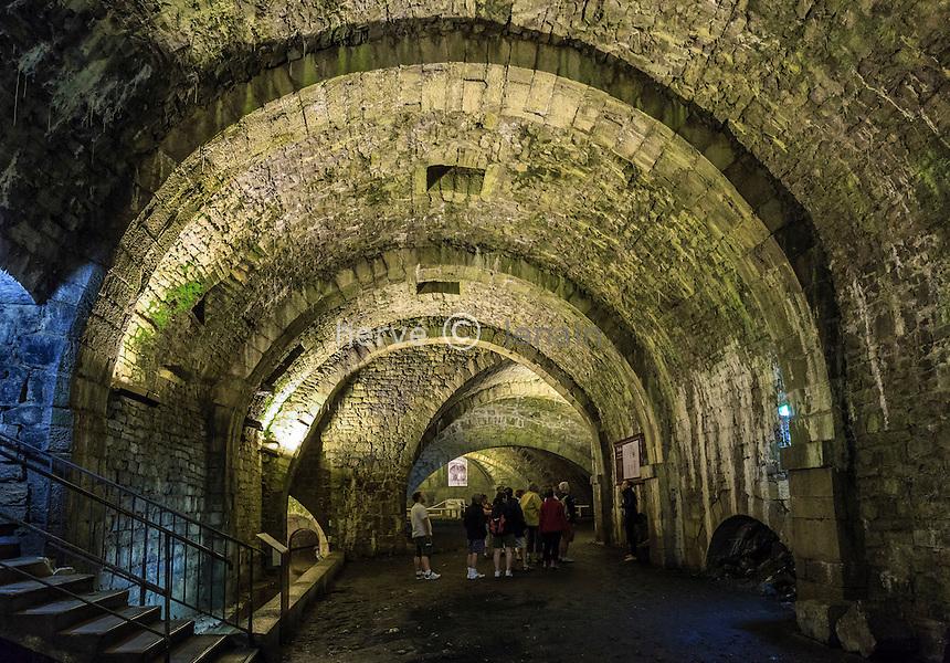 France, Jura (39), Salins-les-Bains, la Grande saline de Salins-les-Bains, classée patrimoine mondial de l'UNESCO, les galeries souterraines avec les sources d'eau salée  // France, Jura, Salins les Bains, Grande saline de Salins-les-Bains (Saltworks), listed as World Heritage by UNESCO, the tunnels with salt springs