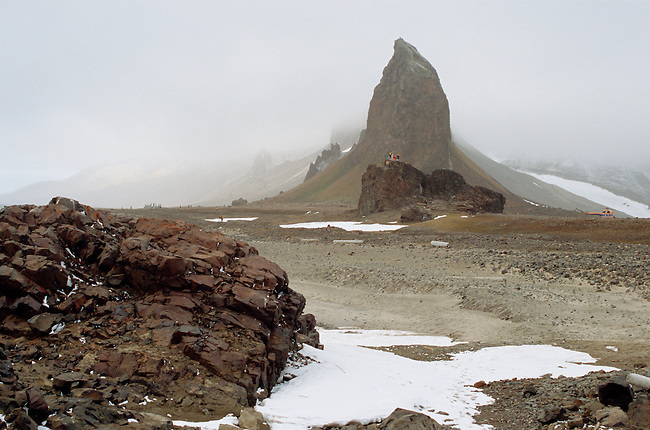 Spectacular rock formation at Cape Tegettoff on Hall Island. Franz Josef Land.