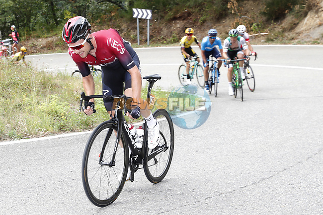 Owain Doull (WAL) Team Ineos attacks on the final climb of Stage 16 of La Vuelta 2019  running 144.4km from Pravia to Alto de La Cubilla. Lena, Spain. 9th September 2019.<br /> Picture: Luis Angel Gomez/Photogomezsport | Cyclefile<br /> <br /> All photos usage must carry mandatory copyright credit (© Cyclefile | Luis Angel Gomez/Photogomezsport)
