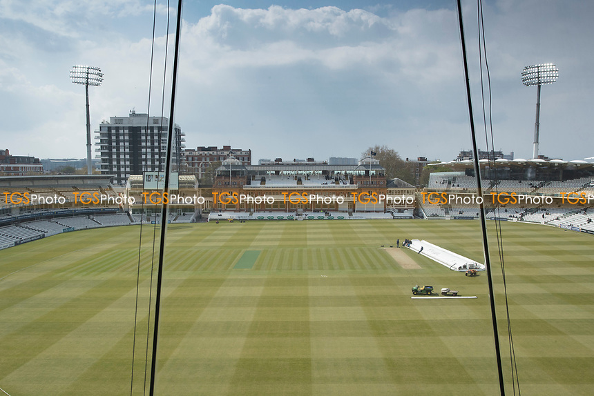 View from the JP Morgan Media Centre at Lords during Middlesex CCC vs Lancashire CCC, Specsavers County Championship Division 2 Cricket at Lord's Cricket Ground on 13th April 2019