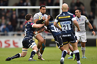 Robbie Fruean of Bath Rugby takes on the Sale Sharks defence. Aviva Premiership match, between Sale Sharks and Bath Rugby on May 6, 2017 at the AJ Bell Stadium in Manchester, England. Photo by: Patrick Khachfe / Onside Images