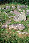 Prehistoric buildings at Drombeg henge site, County Cork, Ireland