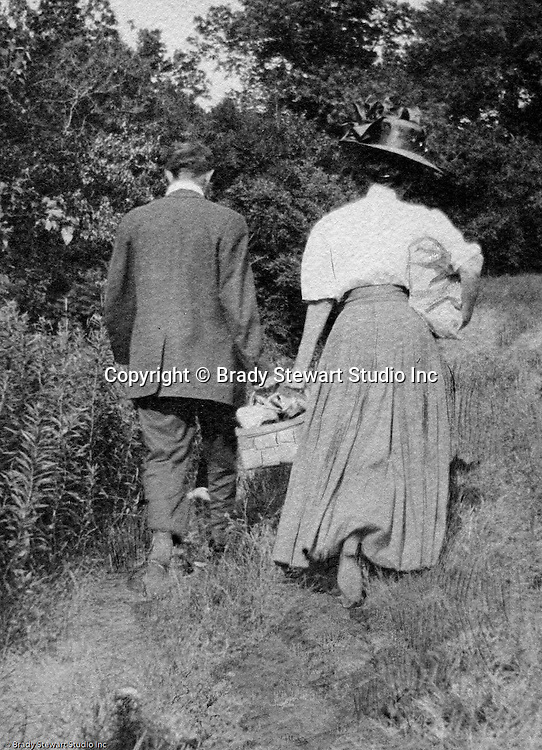 North East PA: Margaret Gray and her husband going out on a picnic.  Margaret Stewart Gray was an Aunt of Brady Stewart.  During the early 1900s, the Stewart family vacationed on Lake Erie near North East Pennsylvania. Since hotels and motels were non-existent, camping was the only viable option for a large number of vacationers
