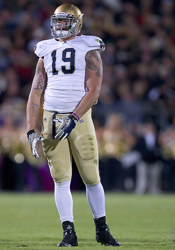 October 01, 2011:  Notre Dame defensive end Aaron Lynch (#19) during NCAA Football game action between the Notre Dame Fighting Irish and the Purdue Boilermakers at Ross-Ade Stadium in West Lafayette, Indiana.  Notre Dame defeated Purdue 38-10.