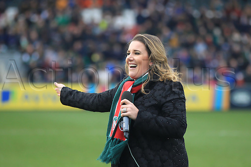 February 18th 2017,  Leicester, England; Aviva Premiership Rugby, Leicester versus Bristol;  The winner of the 2014 X-Factor TV talent show Sam Bailey entertains the crowd before match kick-off