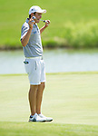 MUSCLE SHOALS, AL - MAY 25: Lynn's Jorge Villa reacts to missing a putt on No. 13 during the Division II Men's Team Match Play Golf Championship held at the Robert Trent Jones Golf Trail at the Shoals, Fighting Joe Course on May 25, 2018 in Muscle Shoals, Alabama. Lynn defeated West Florida 3-2 to win the national title. (Photo by Cliff Williams/NCAA Photos via Getty Images)