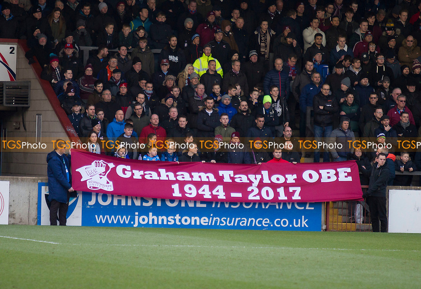 Graham Taylor remembered during Scunthorpe United vs Port Vale, Sky Bet EFL League 1 Football at Glanford Park on 28th January 2017