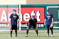 18 September 2012: France Patrice Briones, pitching coach Eric Gagne, and Anthony Piquet are seen during Team France practice, at the 2012 World Baseball Classic Qualifier round, in Jupiter, Florida, USA.