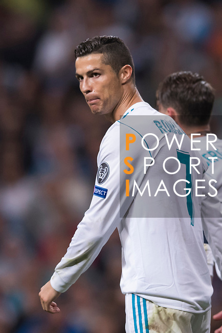 Cristiano Ronaldo of Real Madrid reacts during the UEFA Champions League 2017-18 match between Real Madrid and Tottenham Hotspur FC at Estadio Santiago Bernabeu on 17 October 2017 in Madrid, Spain. Photo by Diego Gonzalez / Power Sport Images