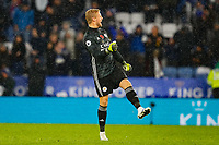 9th November 2019; King Power Stadium, Leicester, Midlands, England; English Premier League Football, Leicester City versus Arsenal; Kasper Schmeichel of Leicester City celebrates victory after the final whistle - Strictly Editorial Use Only. No use with unauthorized audio, video, data, fixture lists, club/league logos or 'live' services. Online in-match use limited to 120 images, no video emulation. No use in betting, games or single club/league/player publications