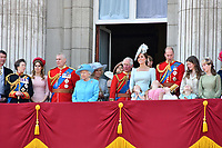 Princess Anne, Princess Beatrice, Prince Andrew, Camilla Duchess of Cornwall, Queen Elizabeth II, Prince Charles, Meghan Duchess of Sussex, Prince Harry, Catherine Duchess of Cambridge, Prince William, Princess Charlotte, Prince George on the balcony at Buckingham Palace<br /> Celebration marking The Queen's official birthday, Trooping The Colour, The Queen's official birthday, Buckingham Palace, London, England UK on June 09, 2018.<br /> CAP/JOR<br /> &copy;JOR/Capital Pictures