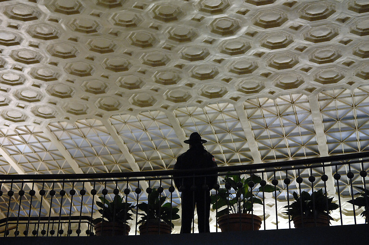 A security guard stands watch in Union Station.