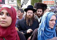 Stop the War demonstration in protest at Israel's bombardment of the Lebanon and Gaza, calling for an unconditional ceasefire. .Anti-Zionist orthodox Jews demonstrate 'against the Zionist attacks in Lebanon and Gaza'.London, England.15.8.06