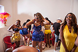BRAZIL, Rio de Janiero, several female dancers prepare for their Samba School Presentation, Unidos Da Tijuca