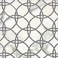 Circle Field, a hand-cut and waterjet stone mosaic,shown in honed Calacatta and polished Bardiglio.