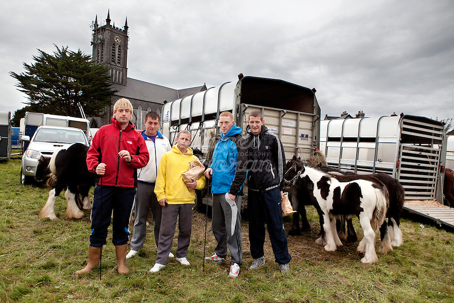2/10/2010.  Horse traders James, Dillon, Patrick, Gitsy and David from Dublin are pictured at the Ballinasloe Horse Fair, Ballinasloe, County Galway, Ireland. Picture James Horan