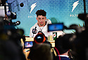 MIAMI, FL - JANUARY 27: Kansas City Chiefs Quarterback Patrick Mahomes (#15) answers questions from the media during the NFL Super Bowl ( LIV)(54) Opening Night at Marlins Park on January 27, 2020  in Miami, Florida. ( Photo by Johnny Louis / jlnphotography.com )