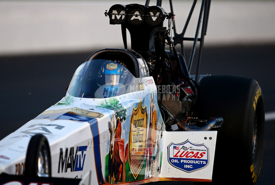 Aug. 30, 2013; Clermont, IN, USA: NHRA top fuel dragster driver Brandon Bernstein during qualifying for the US Nationals at Lucas Oil Raceway. Mandatory Credit: Mark J. Rebilas-