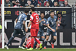 14.04.2019, Merkur Spiel-Arena, Duesseldorf, GER, DFL, 1. BL, Fortuna Duesseldorf vs FC Bayern Muenchen, DFL regulations prohibit any use of photographs as image sequences and/or quasi-video<br /> <br /> im Bild Serge Gnabry (#22, FC Bayern M&uuml;nchen / Muenchen) jubelt nach seinem Tor zum 0:3 mit Robert Lewandowski (#9, FC Bayern M&uuml;nchen / Muenchen)   <br /> <br /> Foto &copy; nph/Mauelshagen
