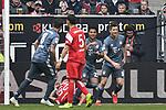 14.04.2019, Merkur Spiel-Arena, Duesseldorf, GER, DFL, 1. BL, Fortuna Duesseldorf vs FC Bayern Muenchen, DFL regulations prohibit any use of photographs as image sequences and/or quasi-video<br /> <br /> im Bild Serge Gnabry (#22, FC Bayern München / Muenchen) jubelt nach seinem Tor zum 0:3 mit Robert Lewandowski (#9, FC Bayern München / Muenchen)   <br /> <br /> Foto © nph/Mauelshagen