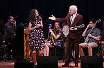 Rob Berman at piano, Edie Brickell and Steve Martin  on stage during 'Bright Star' In Concert at Town Hall on December 12, 2016 in New York City.