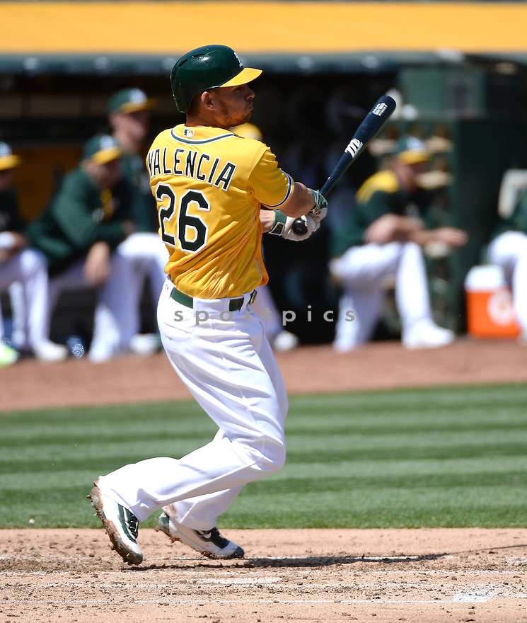 Oakland A's Danny Valencia (26) during a game against the Los Angeles Angels on April 13, 2016 at Oakland Coliseum in Oakland, CA. The Angels beat the A's 5-1.