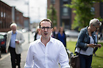 © Joel Goodman - 07973 332324 . 30/07/2016 . Liverpool , UK . OWEN SMITH arrives at a rally in a field off Bridgewater Street in Liverpool after the booked venue , the Camp and Furnace warehouse , reportedly cancelled the booking . Smith is campaigning to replace Jeremy Corbyn as the leader of the Labour Party . Photo credit : Joel Goodman