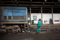 Daniel Ongombe, a mechanic servicing a locomotive in Nairobi.