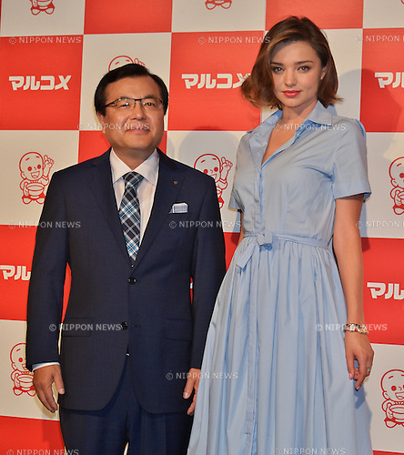 Tokio Aoki, Miranda Kerr, June 20, 2016, Tokyo, Japan : Tokio Aoki(L), President of Marukome Co, Ltd and model Miranda Kerr attend an event for fermented foods company, Marukome Co.,Ltd. at Shangri-La Hotel in Tokyo, Japan on June 20, 2016.