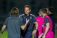 AFC Wimbledon Manager Neal Ardley & Wycombe Wanderers Manager Gareth Ainsworth during the Friendly match between Wycombe Wanderers and AFC Wimbledon at Adams Park, High Wycombe, England on 25 July 2017. Photo by Andy Rowland.
