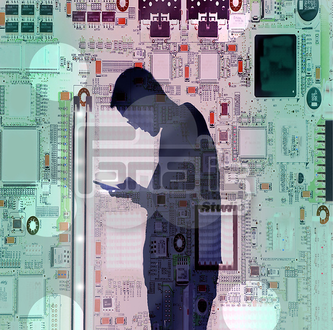 Concept image of a young man texting on a smartphone against a circuit board background depicting technology communication