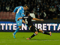 Goran Pandev  shoot the ball  during the Italian Serie A soccer match between SSC Napoli and Parma FC at San Paolo stadium in Naples