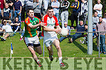 Kevin McCarthy Kilcummin is tracked by Ger Hartnett  Mid Kerry during the SFC in Killorglin on Sunday