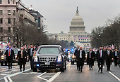 United States The limousine carrying President Donald Trump and First Lady Melania Trump drives in the inaugural parade after Trump was sworn-in as the 45th President in Washington, D.C. on January 20, 2017. \    <br /> Credit: Kevin Dietsch / Pool via CNP